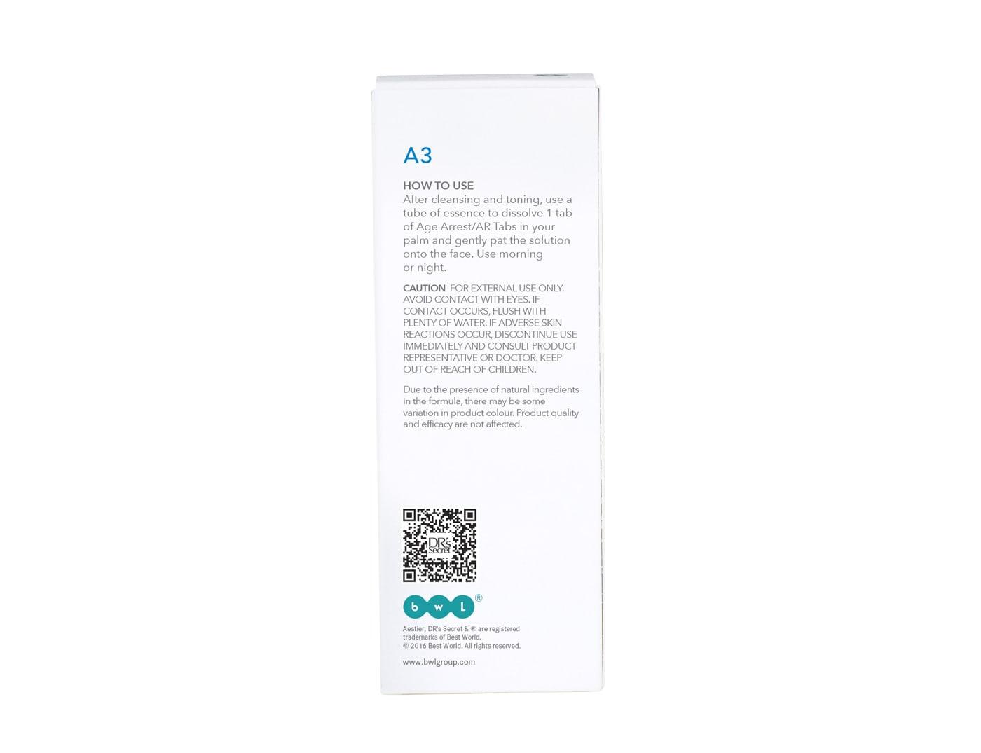 DR's Secret Aestier AR Essence A3 box back packaging
