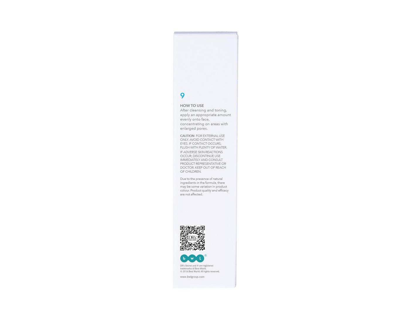 DR's Secret Refining Serum 9 box back packaging