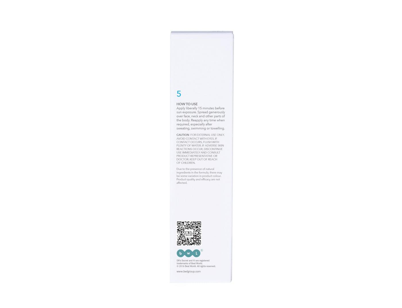 DR's Secret Sunscreen 5 box back packaging