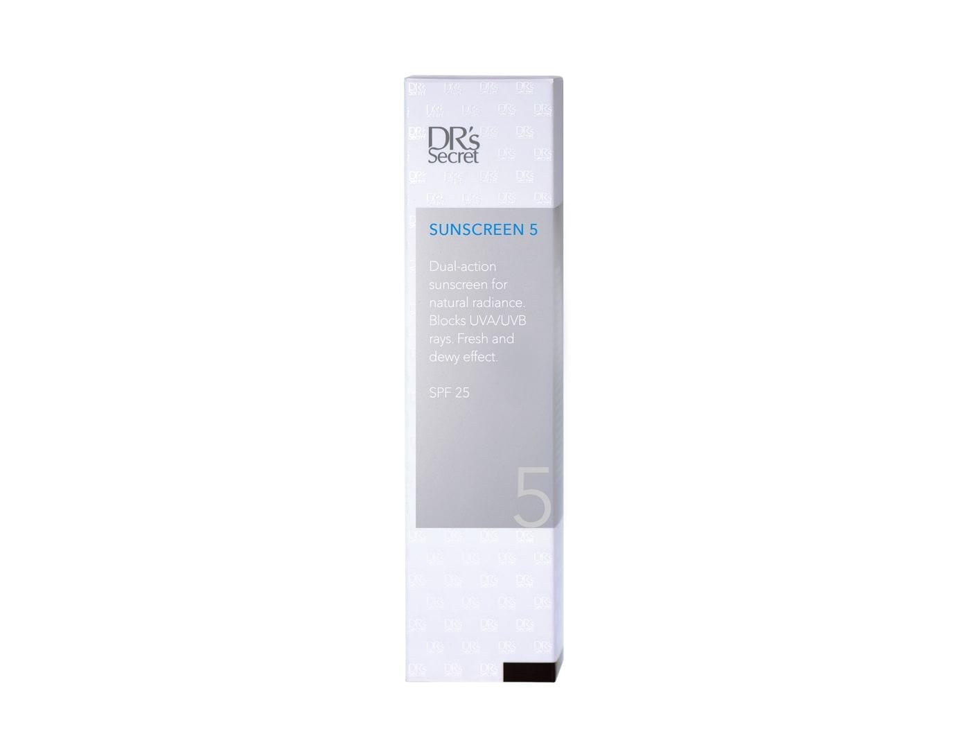 DR's Secret Sunscreen 5 box front packaging