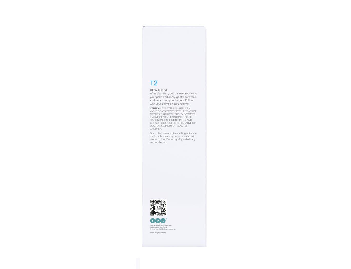 DR's Secret Toner T2 box back packaging
